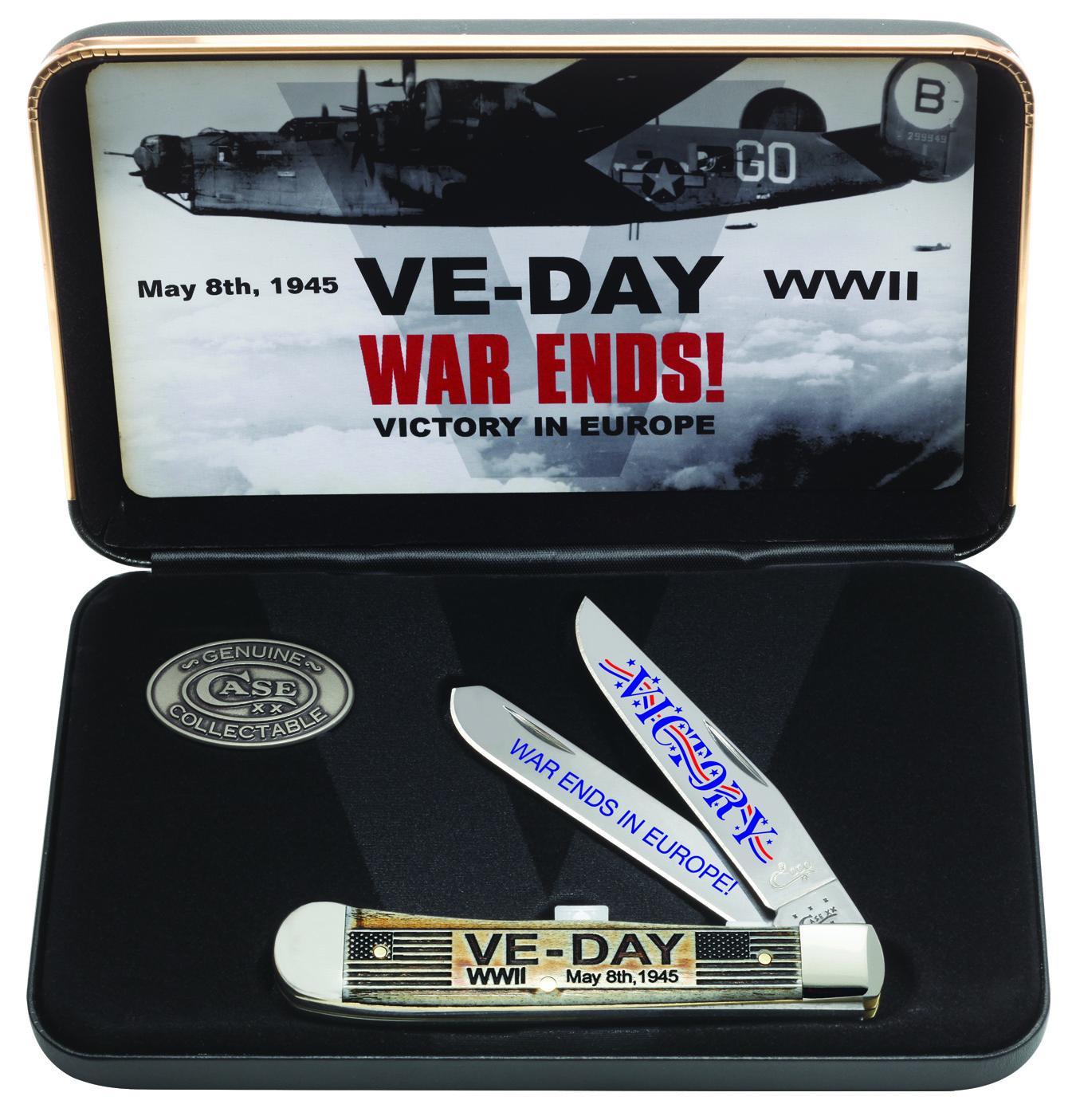 CASE XX KNIFE 11951 VE-DAY NATURAL BONE TRAPPER