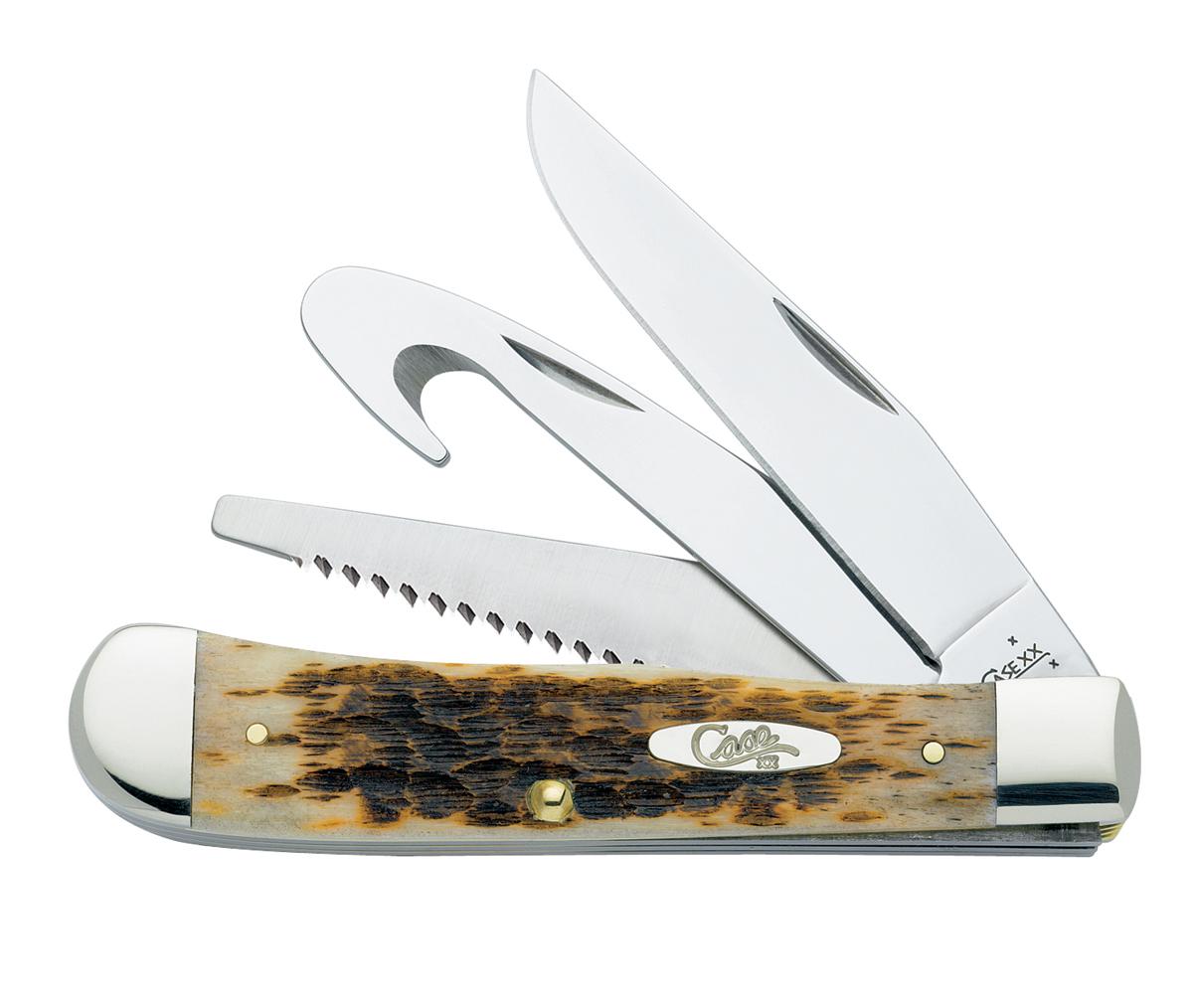 CASE XX KNIFE 149 AMBER BONE HUNTER TRAPPER