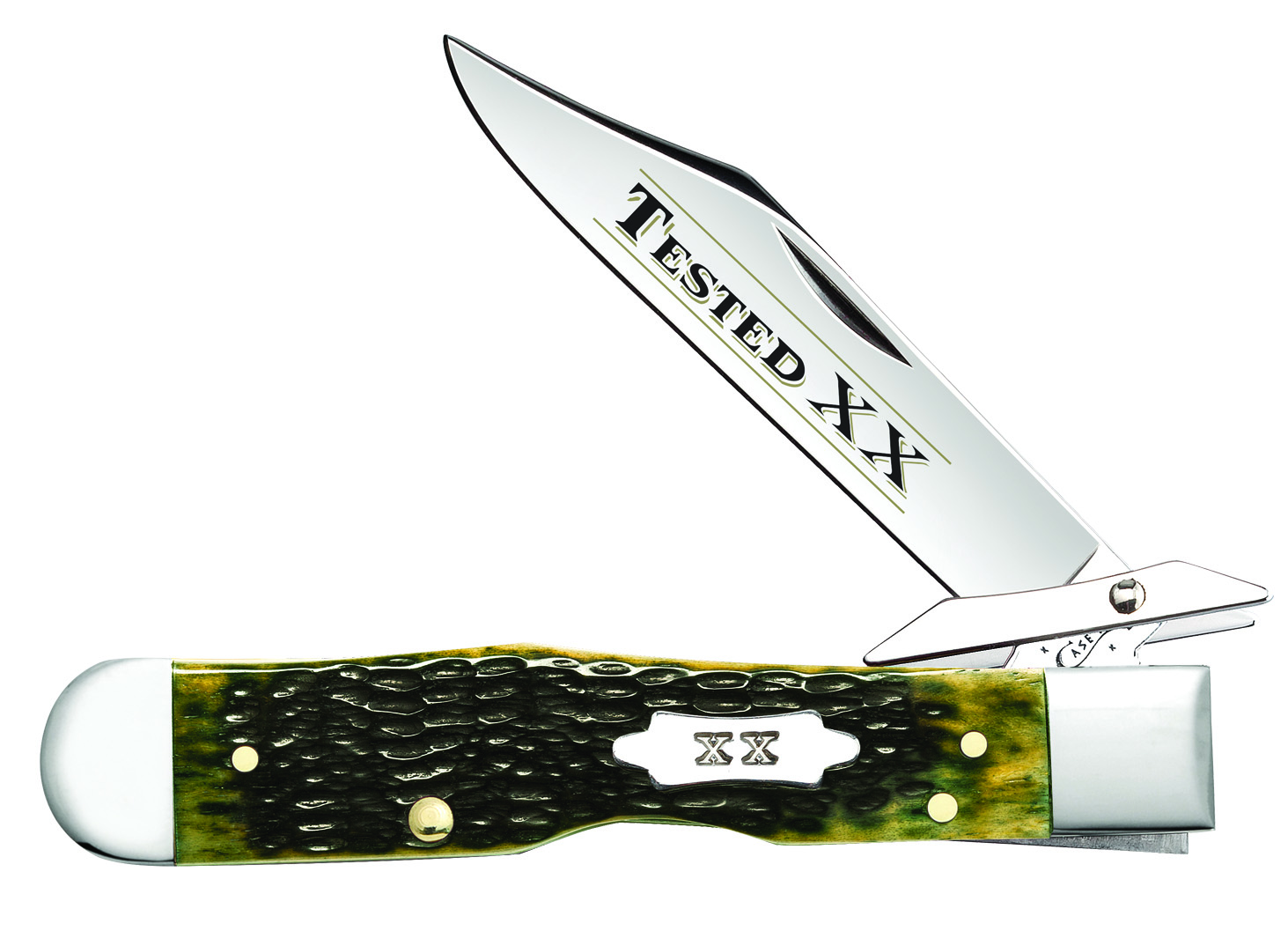 CASE XX KNIFE 10261 OLIVE GREEN BONE CHEETAH