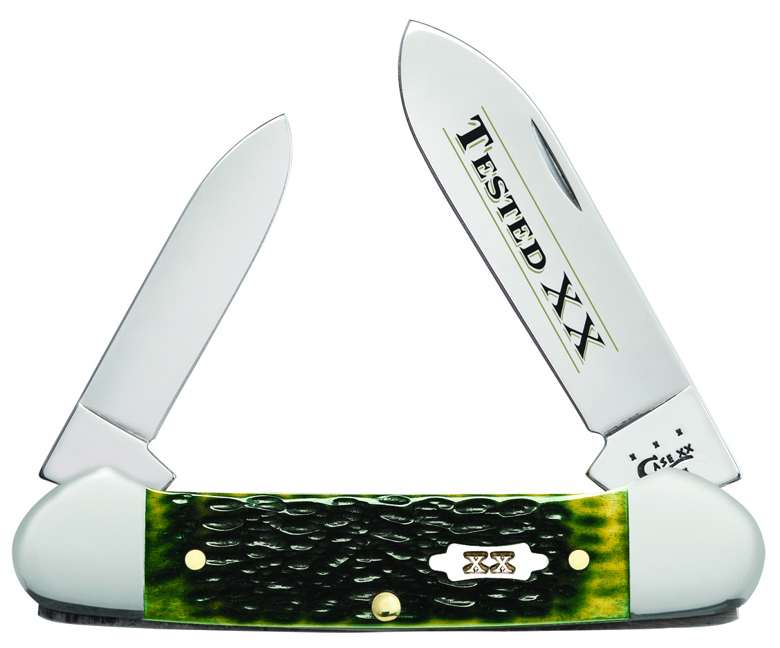 CASE XX KNIFE 10264 OLIVE GREEN BONE CANOE