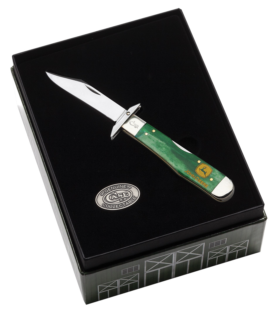 CASE XX KNIFE 15743 JOHN DEERE GREEN BONE CHEETAH