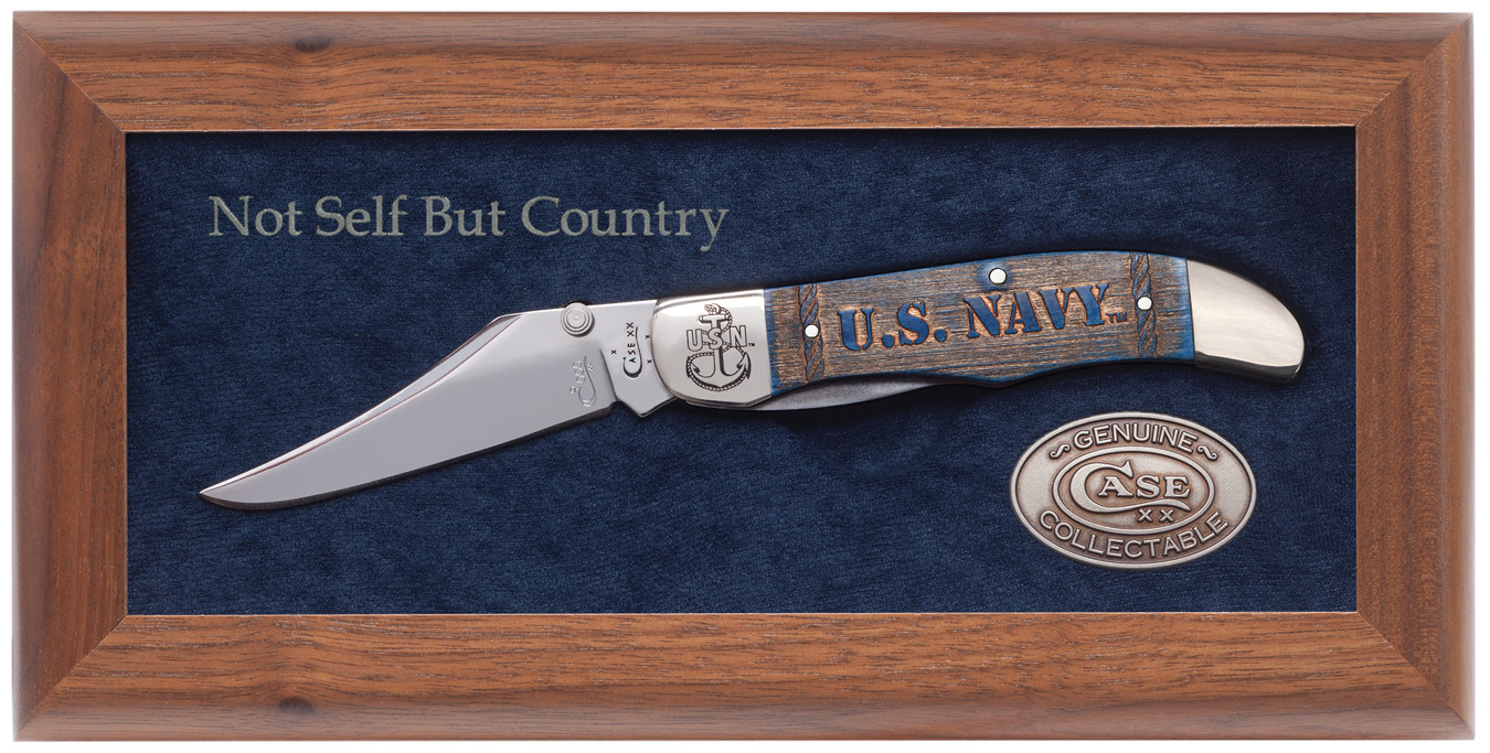 CASE XX KNIFE 17703 CARVED NAVY BLUE BONE MID-FOLDING HUNTER
