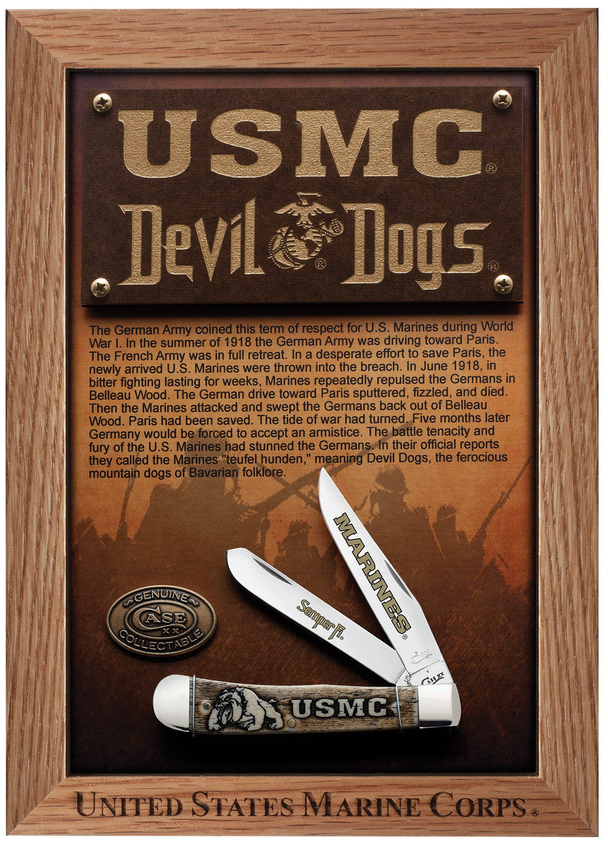 CASE XX KNIFE 13185 USMC DEVIL DOGS TRAPPER